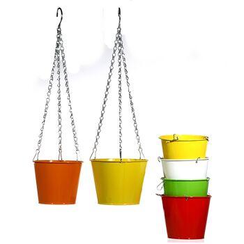 17-29901, Metall Übertopf zum Hängen, Blumentopf, Pflanztopf
