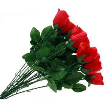 06-0783, Rote Baccara Rose 65 cm, mit Beiwerk, Fliska Dekoblume, Karneval, Fasching, Party, Dekoration