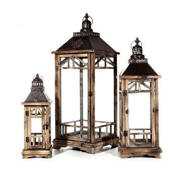 17-27487, Holz Laternen 3er-Set, natur, 45 - 84 cm