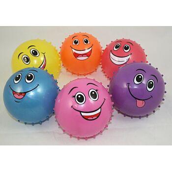 27-71381, Lachgesicht Stachelball aufblasbar, mit Gesicht, Noppenball, Massageball, Wasserball, Beachball