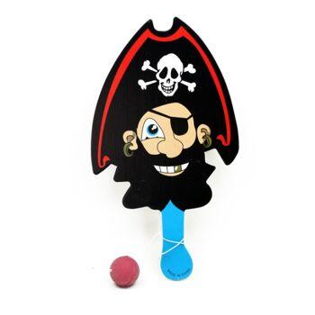 27-42310, Paddel Ballspiel Piratendesign, Paddelspiel, Holzschläger, Ballspiel, Beachball, usw