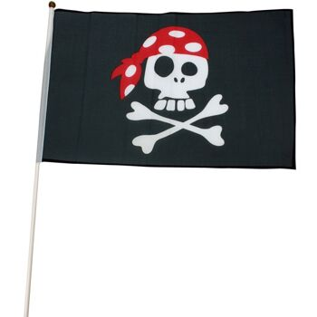 27-43033, Piratenfahne 45 x 30 cm am Stab  60cm, Party, Event, usw, Totenkopf