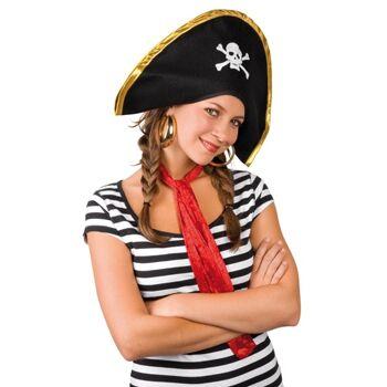 27-15285, Piratenhut Lucky schwarz, mit einem Totenkopf verziert, Mütze, Party, Event, usw