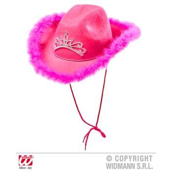27-15441, Cowboyhut pink mit Federmarabou und Diadem, Westernhut, Truckerhut, Party, Event, usw