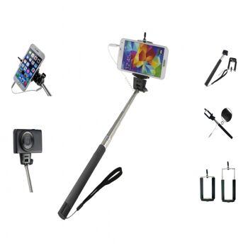 10-606100, Selfie Stick mit Teleskopstange, kompatibel für alle Geräte mit  IOS und ANDROID
