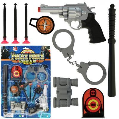 10-541929, RIESEN Polizei Action-Set, 43 cm, Agentenset, Pistole, Pfeilen, Handschellen und Zubehör