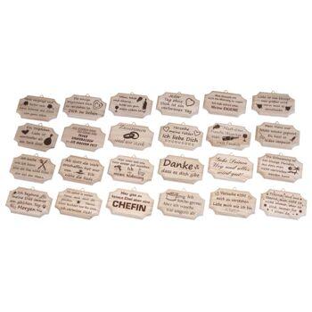 12-1102109, Holzbrettchen mit Sprüchen, Holzschild, Türschild, Wanddeko, usw