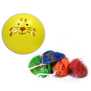 27-71660, Aufblas Ball 22 cm, mit Tiergesicht, Wasserball, Beachball, Fussball, Spielball, Aufblasball