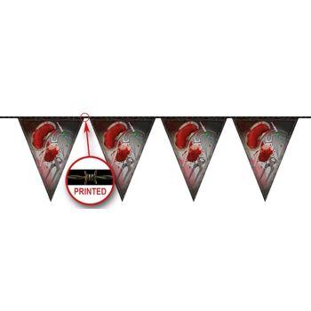 27-52360, Wimpelkette Halloween Horror 10 Meter, blutverschmierte Teile, Party, Karneval, Fasching, Halloween, Event, usw