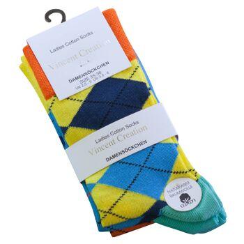 Vincent Creation® Damen Casual-Socken mit bunten Karos