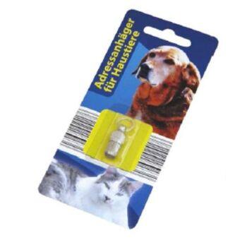 12-1102417, Metall Adresskapsel für Haustiere inkl. beschriftberem Adresszettel, Hund, Katze