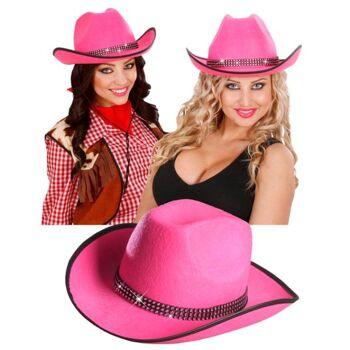27-15422, Cowboyhut mit Straßband - pink, Truckerhut, Westernhut, Event, Party, Partie, usw