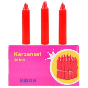 27-40096, EDUPLAY Kerzen Set, rot 36-teilig, geeignet für Lampions, Martins Laternen, Geburtstage etc