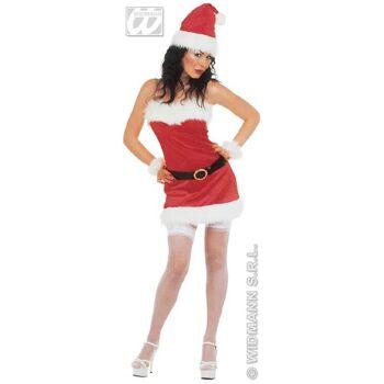 27-55066, Kostüm Komplettset, Miss Santa Flanell Größe M, Weihnachtsfrau, Nikolaus