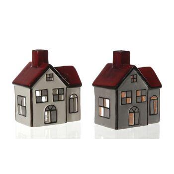 17-50658, Keramik Teelicht Haus, Leuchthaus, 12 cm, Weihnachtsdeko