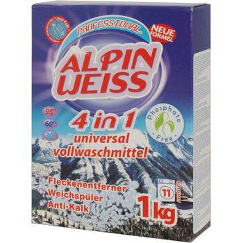 Waschmittel,Vollwaschmittel, washing powder ALPINWEISS 4in1 1 Kg Karton Verpackung