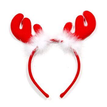 17-90754, Haarreif Weihnachten Rentiergeweih rot, mit Ferdern, Party, Event, Weihnachtsmarkt, usw