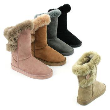 Damen Fell Stiefel Schuhe Herbst Winter Boots