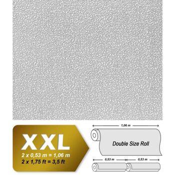 EDEM 304-60 1 Kart 4 Rollen XXL Dekor Vliestapete zum Überstreichen rauhfaser-putz-optik weiß | 106 qm