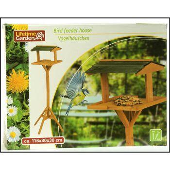 28-223377, Holz Vogelfutterhaus auf Ständer, Vogelhaus