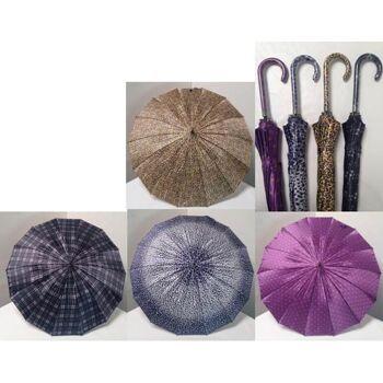 28-211108, Stockschirm automatik, hochwertig, Ledergriff, Regenschirm, Regenschutz
