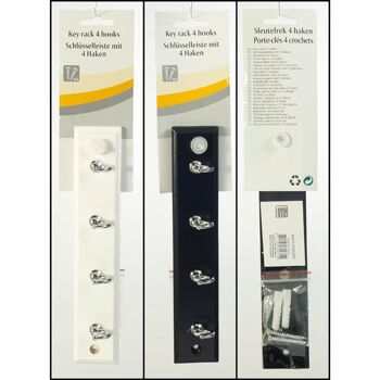 28-329710, Schlüsselbrett Holz 24,5 x cm, mit 4 Haken, Hakenleiste