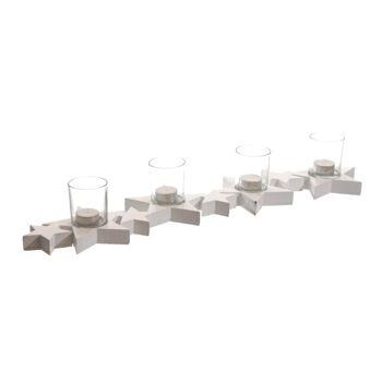 17-42283, Holz Adventsleuchter 65 cm, mit Glaseinsätzen, weiß