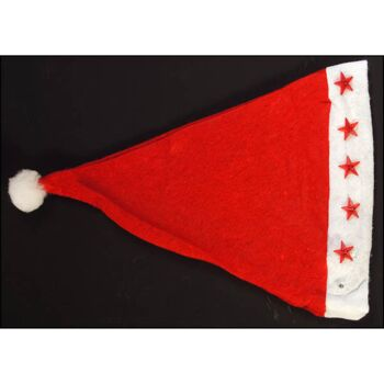 28-501498, Weihnachtsmann-Mütze mit LED Licht, Nikolausmütze, mit Bommel