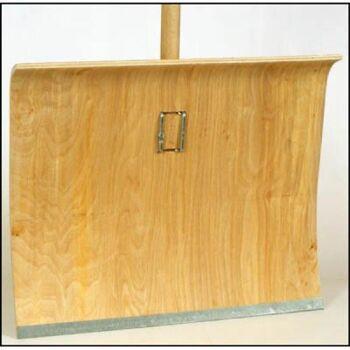 28-147363, Holz Schneeschaufel 48 cm, mit Stiel, Schneeschieber, Schaufel mit Metallkante