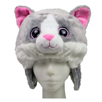 27-31394, MioMio Plüsch-Mütze Katze, kuscheliger Plüsch, mit großen Glitzeraugen