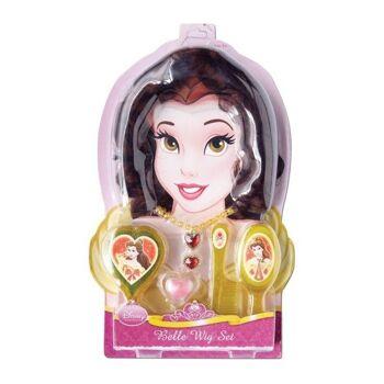 27-47420, Disney Princess Belle Accessoire Set, 43,5 x 27 cm, viel Zubehör, Perücke, Spiegel, Bürste, Kamm, Kette, Ring, Lipgloss