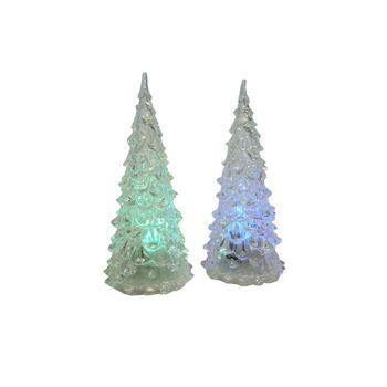12-71006, LED Acryl Weihnachtsbaum 12 cm, mit Farbwechsel, inkl. Batterien, blinkt und flackert, Tannenbaum, TOP Tischdeko, usw