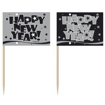 27-44413, Fahnenpicker HAPPY NEW YEAR 50er Pack, Zahnstocher, Dekopicker, Piekser, Party, Karneval, Fasching, Silvester, Event, usw