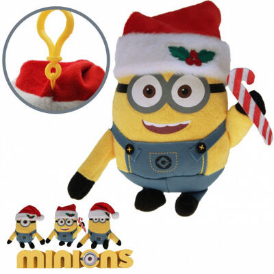 10-202080, Plüsch Minions Weihnachten mit Karabinerhaken 16 cm, mit Weihnachtsmütze, Nikolausmütze, Minions Stofftiere, Plüschtiere