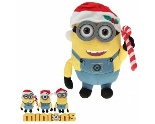 10-202110, Plüsch Minions Weihnachten 34 cm, mit Plastikaugen/Brille, mit Weihnachtsmütze, Nikolausmütze, Minions Stofftiere, Plüschtiere