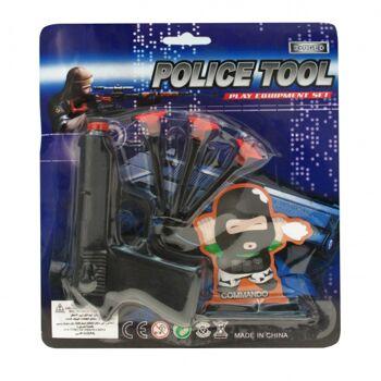 10-541830, Polizei Action-Set Pistole, Zielfigur und 3 Sicherheitspfeile mit Saugnapf, Spielset, Karneval, Fasching, Kostümzubehör usw