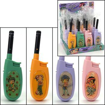 28-039295, Gasanzünder Betty Boop, elektronisch, 14 cm, Stabfeuerzeug, Kerzenanzünder, Grillanzünder