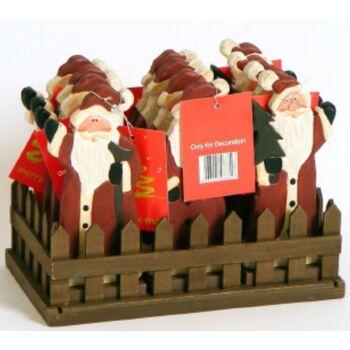 12-88816, Holz Weihnachtsmann / Nikolaus 14 cm, im Holzdisplay