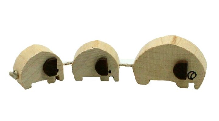 27-80056, Holz Elefantenzug mit 3 Elefanten Holzspielzeug