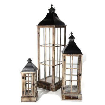 17-27489, Laternen 3er-Set, natur, Metall/Holz/Glas, 56 - 135 cm