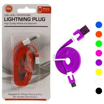 17-92011, Ladekabel flach, lightning plug, für apple, lightning auf USB