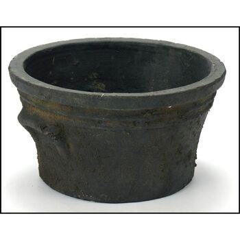 28-269324, Übertopf Keramik, 20 cm, schwarz, konisch, Blumentopf