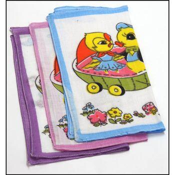 28-280420, Taschentuch für Kinder, 12er Pack, Baumwolle, lustige Kindermotive