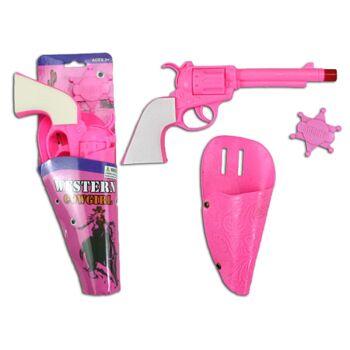 27-60221, Pistole pink mit Halfter und Stern, Kostüm, Karneval, Fasching, Party, Event, Junggesellenabschied, usw
