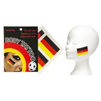 27-80049, Deutschland Tattoo Flagge 4er Pack, Kostüm, Karneval, Party, Fasching, Event