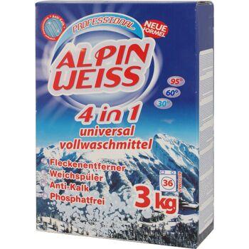 Waschmittel, Waschpulver, Washing Powder, Vollwaschmittel ALPINWEISS 3 kg Karton, 2,69 €