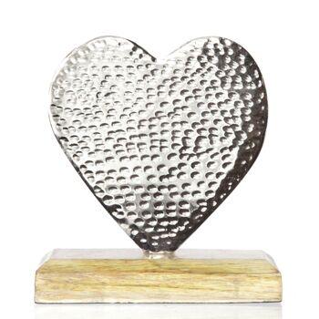 17-60214, Metall Herz auf Holz Fuß