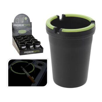22-20624, Aschenbecher Kunststoff, mit Leuchtrand, ideal im Auto und für Camping, Wanderungen, etc