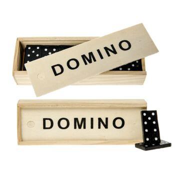 22-20576, Holz Domino Spiel in Holzbox, Dominospiel, Gesellschaftsspiel