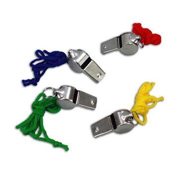 27-41346, Metalltrillerpfeife mit buntem Halsband
